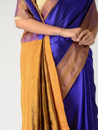 Blue-Ochre Narayanpet Silk Saree with Zari