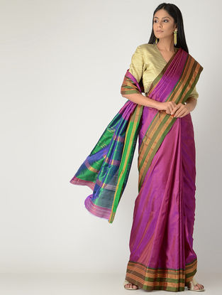 Magenta-Green Narayanpet Silk Saree with Zari