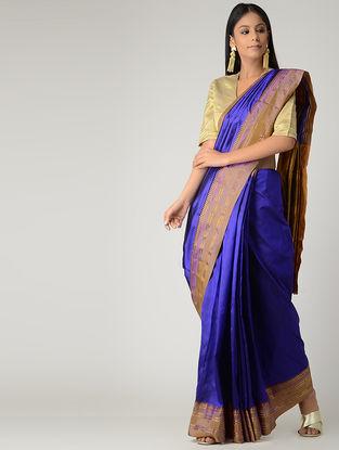 Blue-Purple Narayanpet Silk Saree with Zari