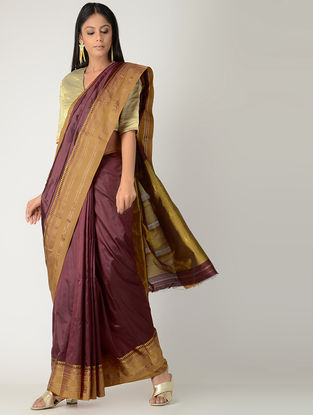 Maroon-Beige Narayanpet Silk Saree with Zari