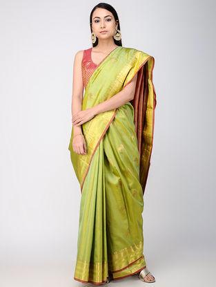 Green-Red Kanjivaram Silk Saree