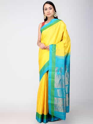 Yellow-Turquoise Kanjivaram Silk Saree
