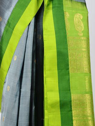 Grey-Green Kanjivaram Silk Saree