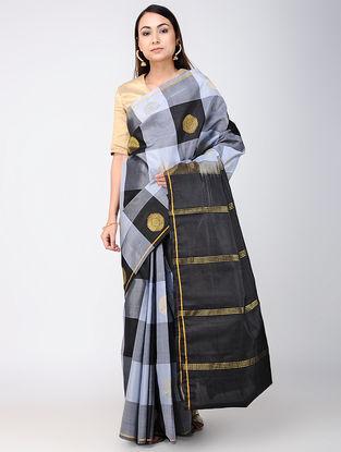 Ivory-Black Checkered Kanjivaram Silk Saree