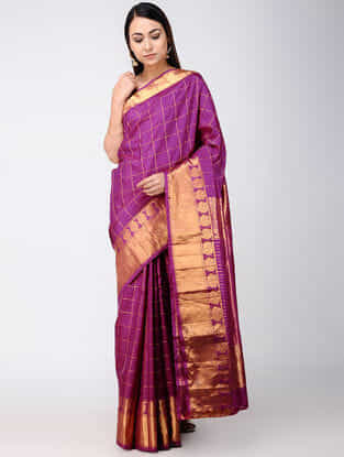 Purple Kanjivaram Silk Saree