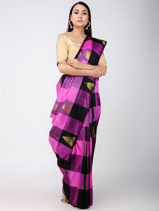 Purple-Black Kanjivaram Silk Saree