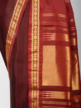 Maroon-Red Kanjivaram Silk Saree