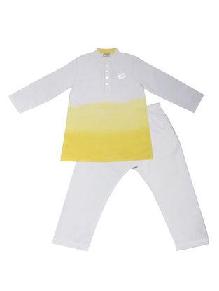 Yellow-White Ombre-Dyed Cotton Silk Kurta Pyjama with Foil Print ( Set of 2)