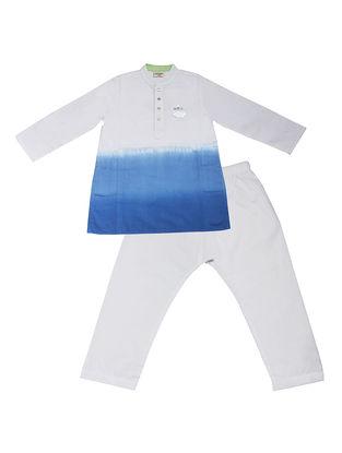 Blue-White Ombre-Dyed Cotton Silk Kurta Pyjama with Foil Print ( Set of 2)