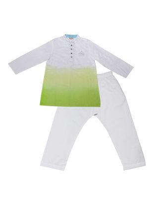 Green-White Ombre-Dyed Cotton Silk Kurta Pyjama with Foil Print ( Set of 2)