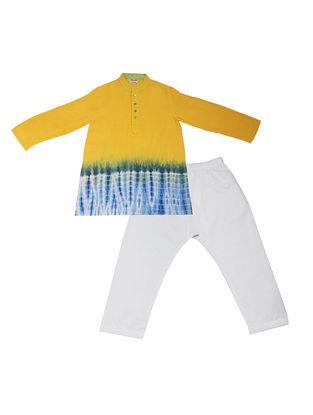 Yellow-White Tie and Dye Cotton Silk Kurta Pyjama ( Set of 2)