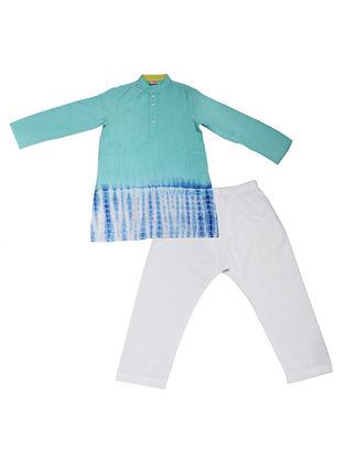 Green-White Tie and Dye Cotton Silk Kurta Pyjama ( Set of 2)
