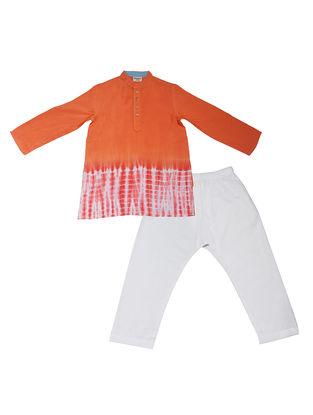 Orange-White Tie and Dye Cotton Silk Kurta Pyjama ( Set of 2)