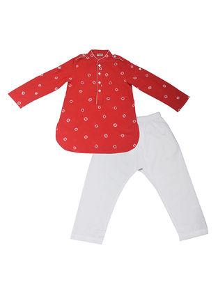 Red-White Shibori Dyed Cotton Silk Paithani Kurta Salwar ( Set of 2)