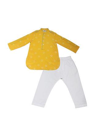 Yellow-White Shibori Dyed Cotton Silk Paithani Kurta Salwar ( Set of 2)