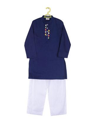 Navy Blue-White Cotton Silk Kurta Pyjama ( Set of 2)