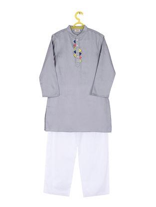 Grey-White Cotton Silk Kurta Pyjama ( Set of 2)