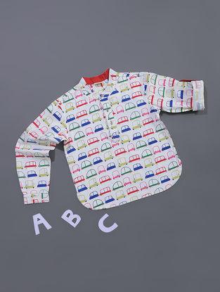 White-Multicolored Car Printed Cotton Shirt