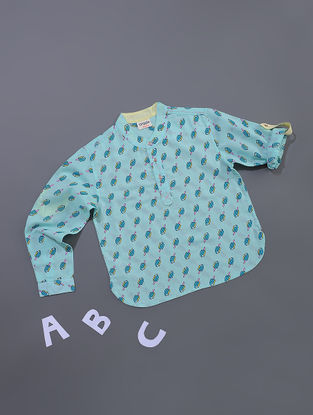 Blue Ice-cream Printed Cotton Shirt