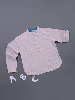 Pink-Blue Dots Printed Cotton Shirt