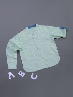 Green-Blue Dots Printed Cotton Shirt