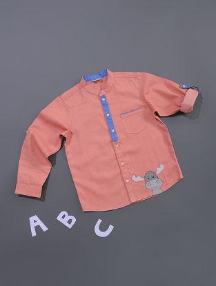 Peach Chambray Cotton Shirt
