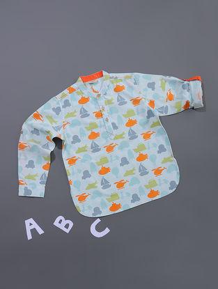 Blue-Orange Printed Cotton Shirt