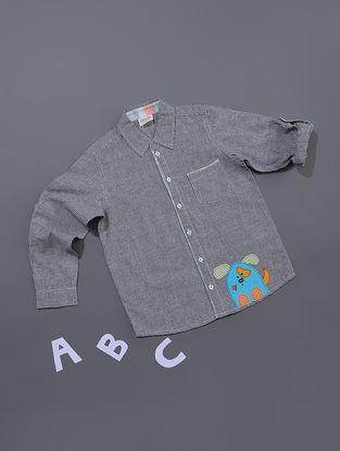 Black Gingham Check Cotton Shirt