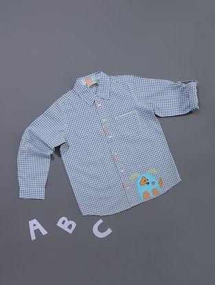 Blue Gingham Check Cotton Shirt