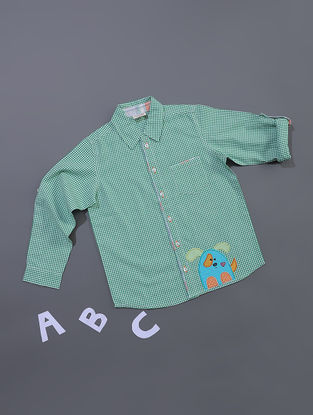 Green Gingham Check Cotton Shirt