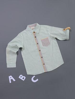 Green-White Striped Cotton Shirt