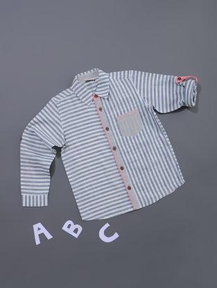 Blue-White Striped Cotton Shirt