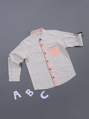 Beige-White Striped Cotton Shirt