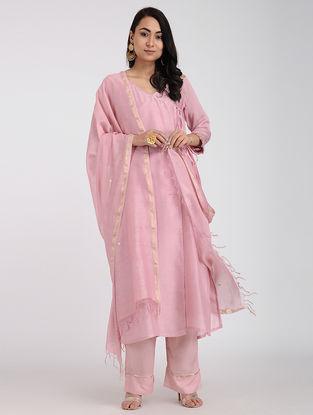 Pink Chanderi Dupatta with Sequins Work