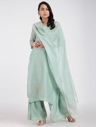 Blue Chanderi Dupatta with Sequins Work