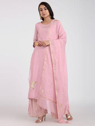 Pink Chanderi Dupatta with Gota Work