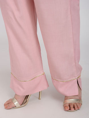 Pink Rayon Pants with Gota Work
