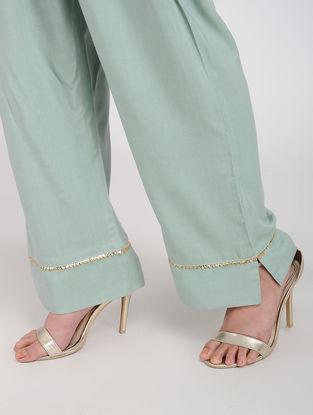 Blue Rayon Pants with Gota Work
