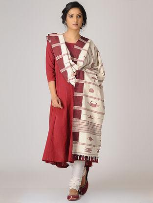 Ivory-Maroon Kotpad Cotton Dupatta