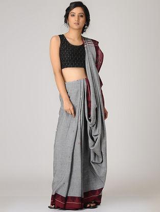 Grey-Maroon Kotpad Cotton Saree