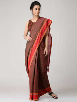 Brown-Red Chettinad Cotton Saree with Kalamkari-printed Blouse Fabric