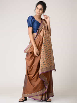 Brown Cotton Saree