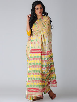 Beige-Yellow Jamdani Silk-Cotton Saree