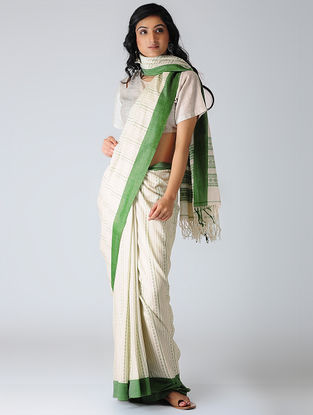 Ivory-Green Mercerized Cotton Saree