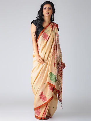 Cream-Pink Mercerized Cotton Saree