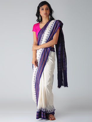 White-Blue Sambalpuri Ikat Cotton Saree with Woven Border