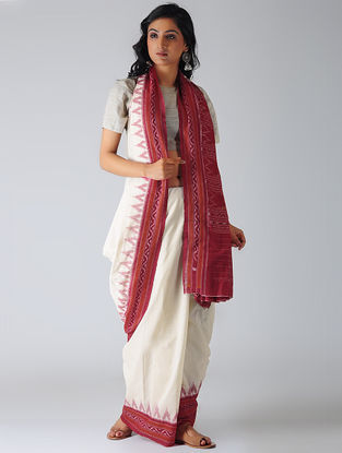 White-Pink Sambalpuri Ikat Cotton Saree with Woven Border