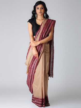 Peach-Maroon Sambalpuri Ikat Cotton Saree