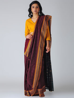 Maroon-Yellow Sambalpuri Ikat Cotton Saree