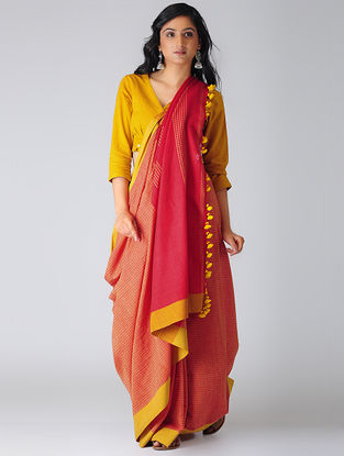 Pink-Peach Khadi Cotton Saree with Tassels